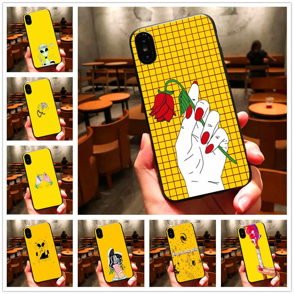 820de55265 Yellow Aesthetic Art Pretty fashion Black soft silicone fundas phone Case  For iPhone X 8 7