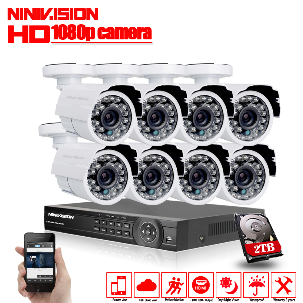 Home AHD-H 8CH CCTV System 1080P DVR 3000TVL Outdoor Video Surveillance 2.0MP Security Camera System 8 channel DVR Kit 2TB HDD 1400tvl ahd camera 8ch 720p video surveillance security camera system 8 channel cctv dvr kit system p2p wifi