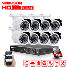 Home AHD-H 8CH CCTV System 1080P DVR 3000TVL Outdoor Video Surveillance 2.0MP Security Camera System 8 channel DVR Kit 2TB HDD