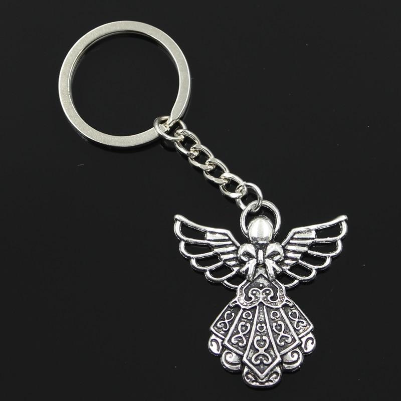 new fashion men 30mm keychain DIY metal holder chain vintage guardian angel 42*38mm antique silver pendant