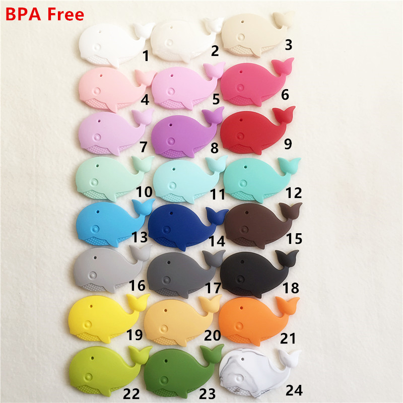 20PCS BPA Free Silicone Whale Pendant Teether Baby Animal Pacifier Dummy Teething Chewable Pendant Nursing Necklace