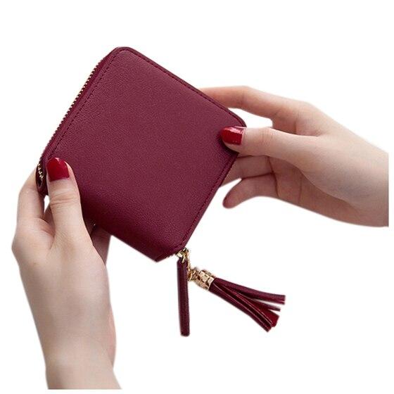 Fashion Boutique Women Card Holder Solid Color Tassel Pendant Coin Cash Purse PU Leather Short Square Wallet