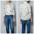Long Sleeves Women Shirt 2016 Fashion Grass Floral Printed Shirts Woman Casual Blouses Summer Tops Female Women Clothing S/M/L