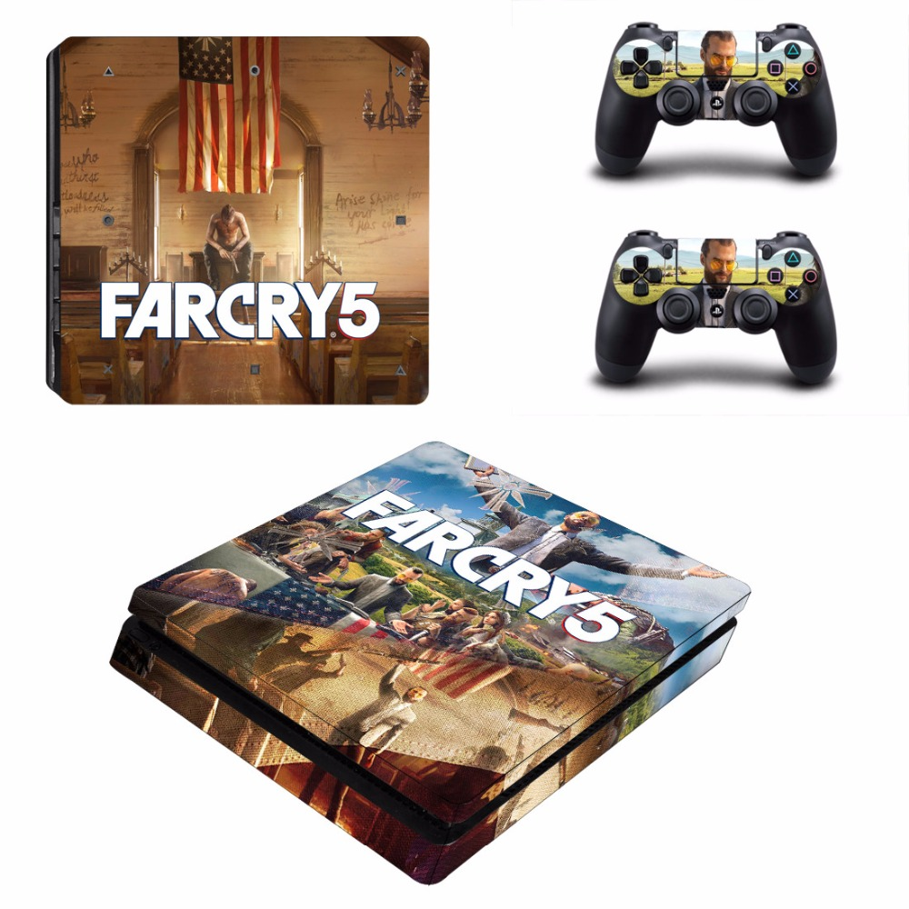 Game Far Cry 5 Farcry PS4 Slim Skin Sticker Decal For Sony PlayStation 4 Console and 2 Controllers PS4 Slim Skins Stickers Vinyl