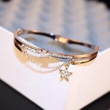 New Fashion Crystal Star Cuff Bracelet for Women Luxury Jewelry Rose Gold Color Rhinestone Bracelets & Bangles