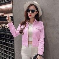 DoreenBow Nouveau Design Printemps Automne Lady Jeans Veste Femmes Mode Denim Tissu Punk Style Blanc Rose Bleu Manteau Outwear, 1 PC