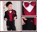 Дети производительность костюмы мальчики костюмы для свадьбы мальчиков смокинг костюмы в том числе (пальто + жилет + брюки + галстук-бабочка + талии печать)