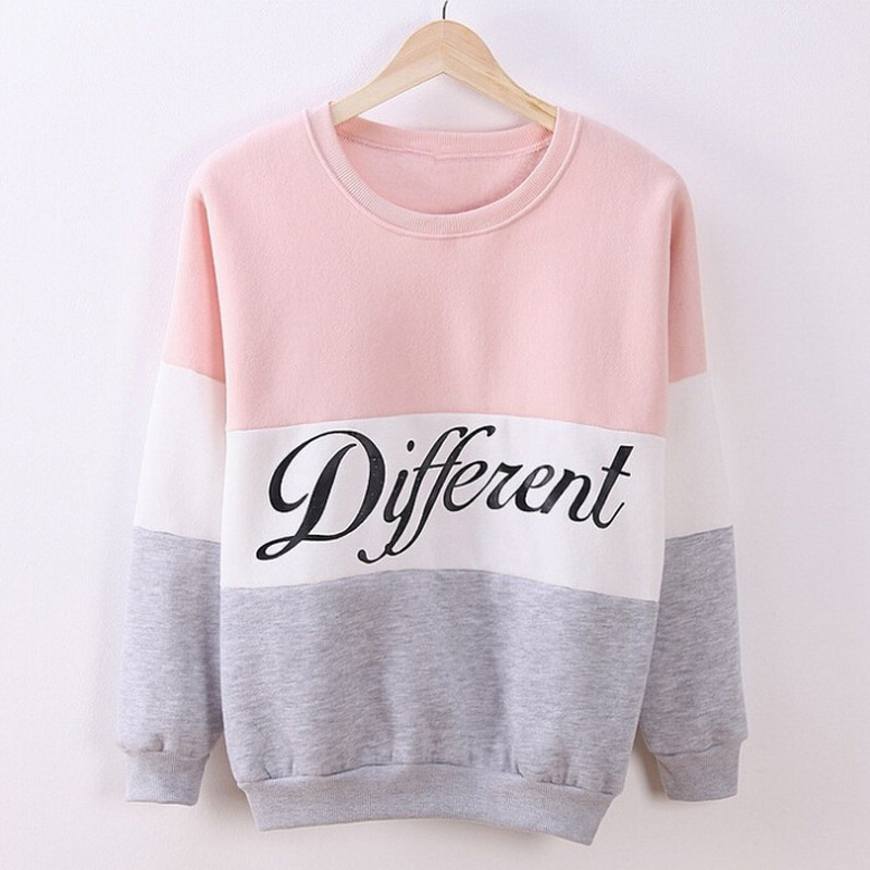 Autumn Spring Women Hoodies Patchwork Sweatshirt Fleece Tracksuits Long Sleeve O-neck Pullover Tops PO66