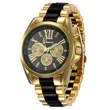 Enterprise Elegant Style Girls Roman Numeral Gold Plated Wrist Watch Color:Black