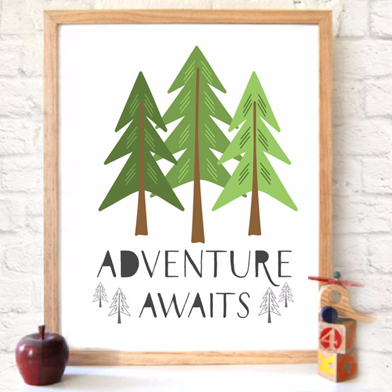 graphic about Printable Mural referred to as Forest Journey Awaits Mural Printable Artwork Quotation Pine Trees