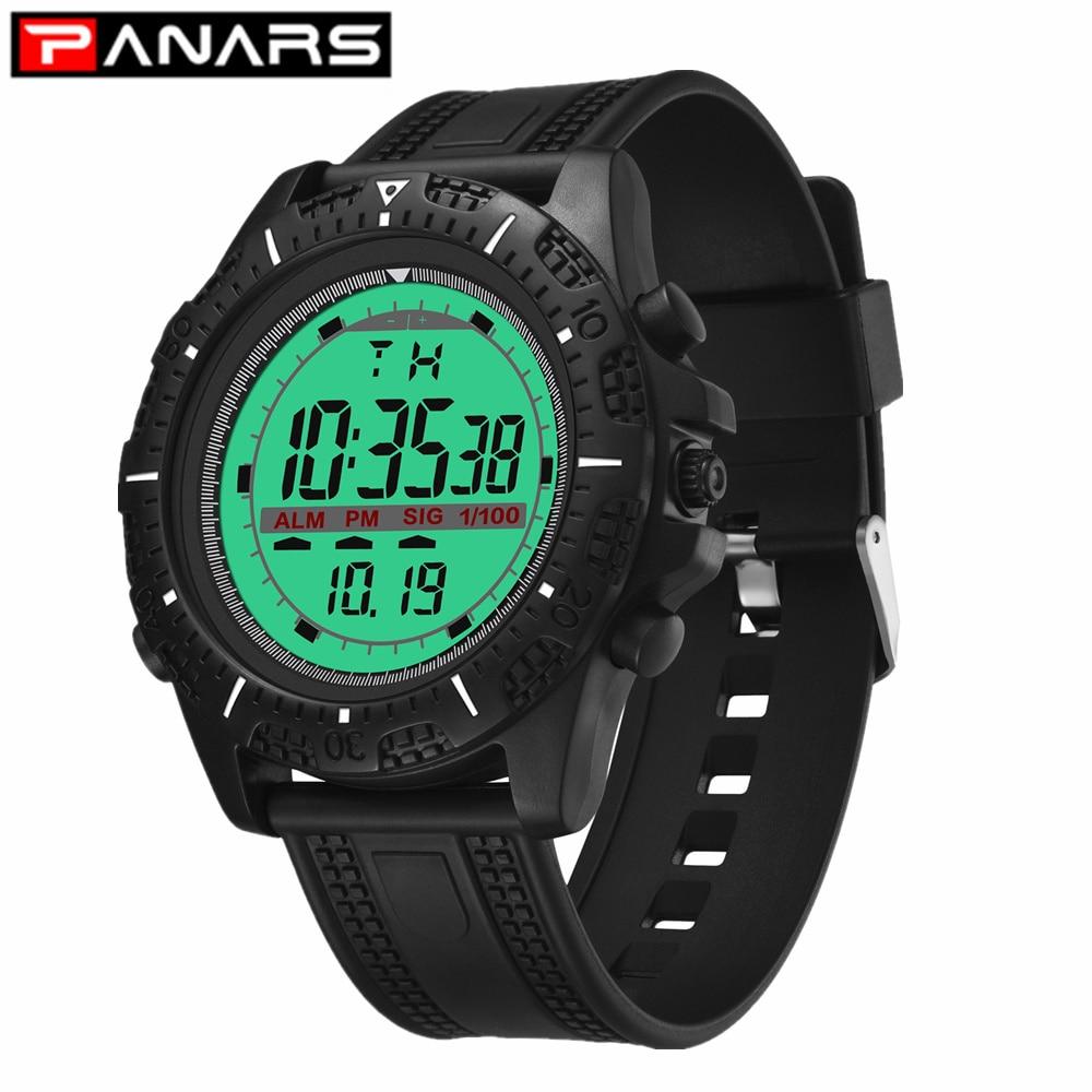 PANARS Multi-function Electronic Men's Watch Fashion Shock Proof Timing Watch Large Screen Sports Alarm Clock Back Light Digital