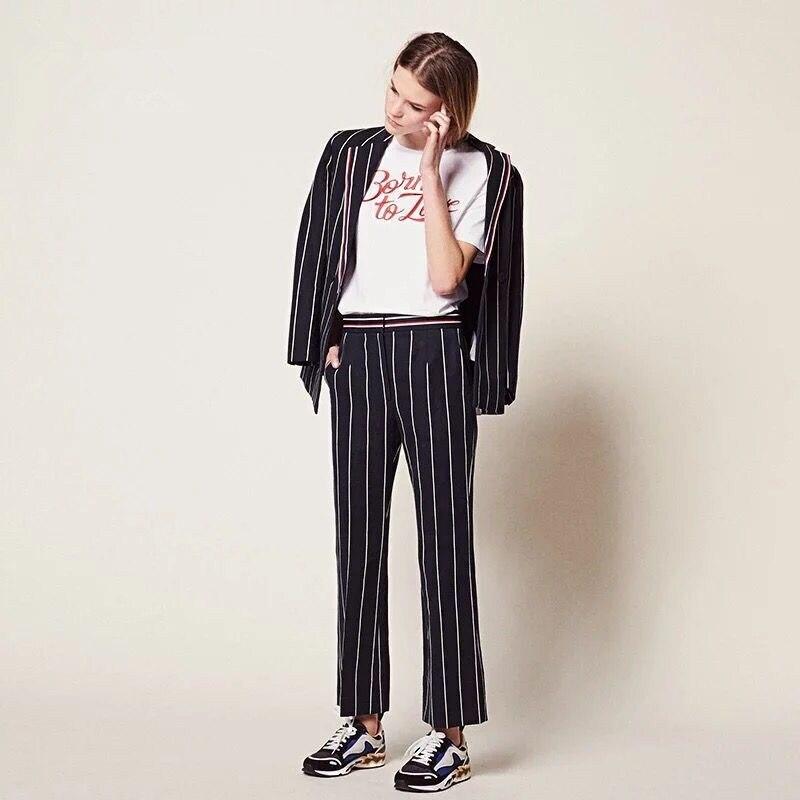 2019 nowych kobiet komplet garniturów pionowy pasek z długim rękawem i długie spodnie urząd Lady modny zestaw w Zestawy damskie od Odzież damska na  Grupa 1