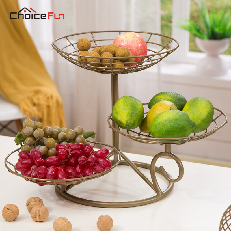 Choice Fun Kitchen 3 tier Stainless Steel Decoration Metal Fruit Plate Stand Holder Party Snacks Food Fruit Tray For Wedding