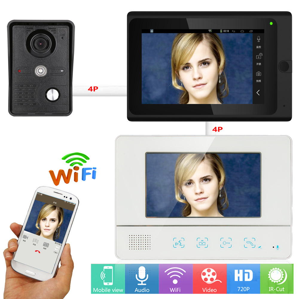 YobangSecurity Video Intercom 2X 7 Inch Monitor Wifi Wireless Video Door Phone Doorbell Camera Intercom System Android IOS APP