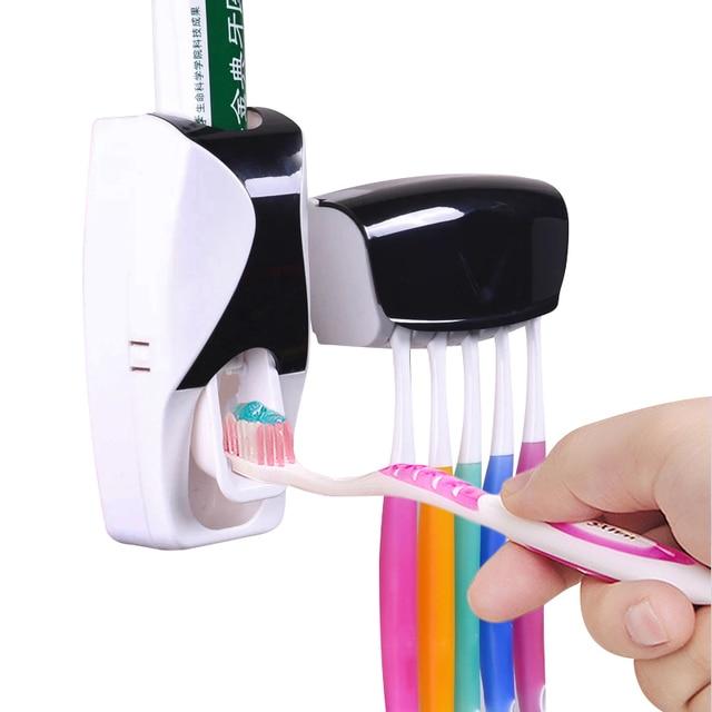 1 juego creativo automático plástico perezoso pasta de dientes dispensador 5 soporte de cepillo de dientes exprimidor estantes de baño accesorios de baño