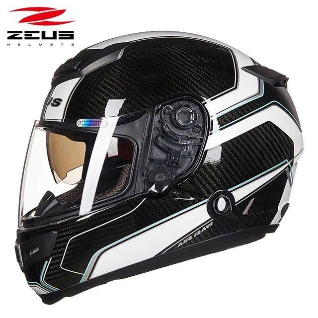 Carbon Fiber Motorcycle Helmets >> Zeus 1200e Full Face Motorcycle Helmet Carbon Fiber Shell Double