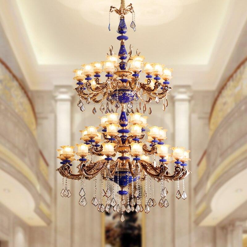 Огромный современный 48 головок Керамическая люстра Хрустальная освещение для лобби вилла роскошные свечи светодио дный светодиодные люст