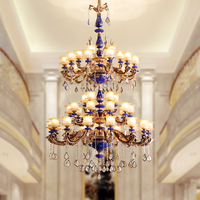 Huge Modern 48 heads ceramic chandelier Crystal lighting for hotel lobby villa Luxury candle led chandeliers chinese stair light