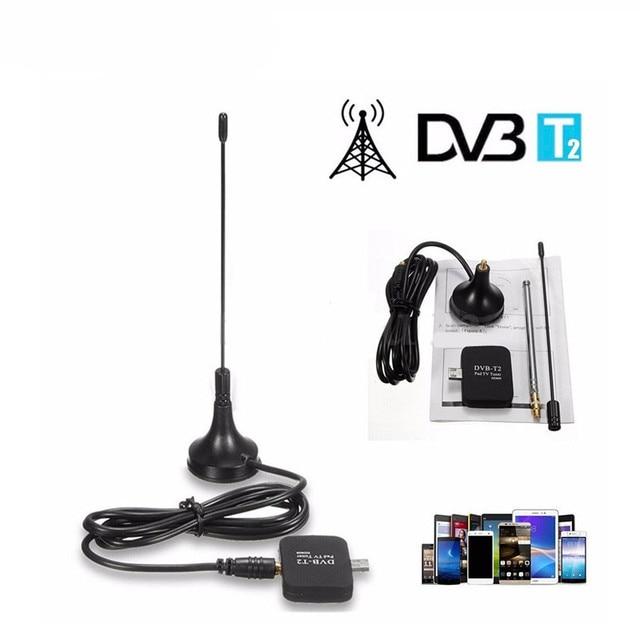 Newest DVB-T DVB-T2 receiver HD digital TV tuner DVB T/T2 satellite receiver usb dongle for Phone Pda Android DVBT2 DVBT antenna
