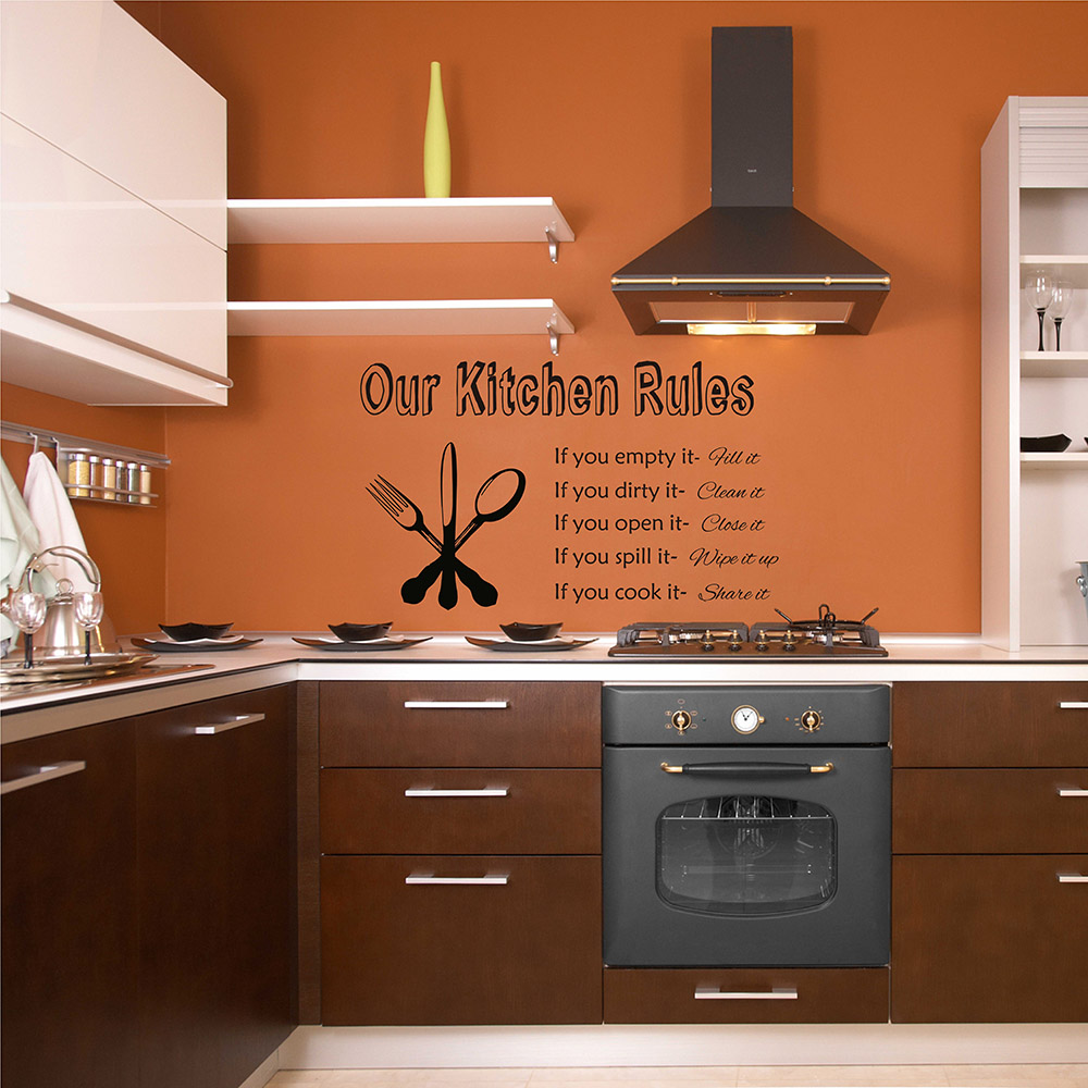 Kitchen Rules Wall Sticker Dining Room Decor Kitchen Sticker Kitchen Wall Decal Gift for Mom Gift for grandma 667Q