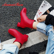ANMAIRON 2019 Women Boots Square Toe PU Zip Med Heel Winter Shoes Short Plush  Ankle for Size 34-43