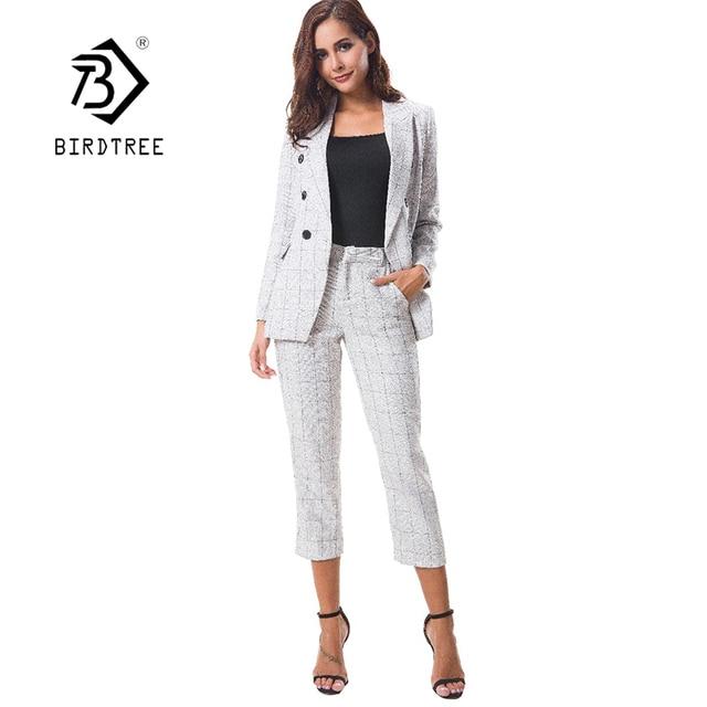 2018 New Women 2 Piece Set Female Jacket Plaid Blazer Pants Suit Vintage  White Business Formal Suits For Work Hot Sales S89603F 49df3b124c