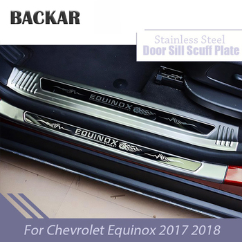 BACKAR Car Stainless Steel Threshold Decorative Sill Protect Interior Sticker For Chevrolet Equinox 2017-2018 Accessories
