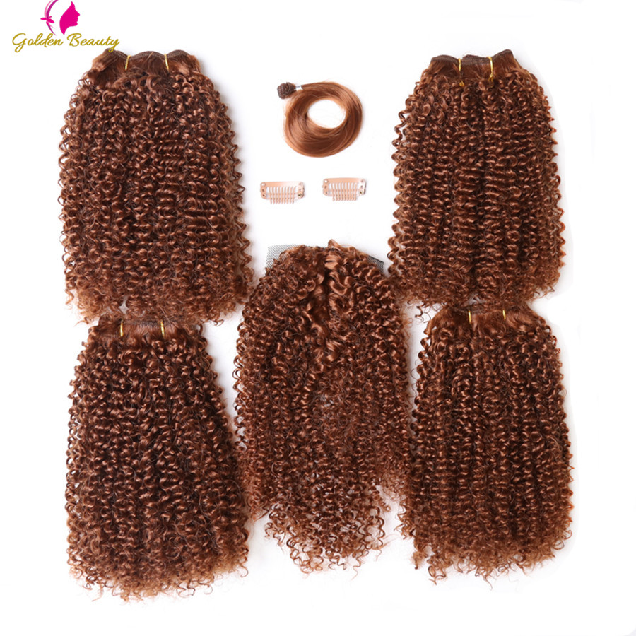 Kinky Curly Weave Wefts Synthetic-Hair Hair-Extensions Sew-In Women 12inch for Golden-Beauty