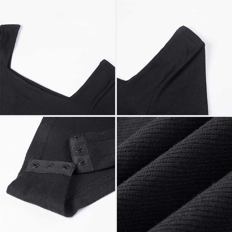 2018 зимние женские уличные сексуальные боди осенние модные повседневные с длинным рукавом черные белые однотонные трикотажные закрытый Купальник для женщин