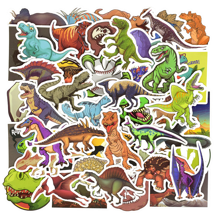 50 pcs dinosaur sticker cartoon jurassic animal educational toys stickers for children diy laptop scrapbooking luggage bicycle in stickers from toys