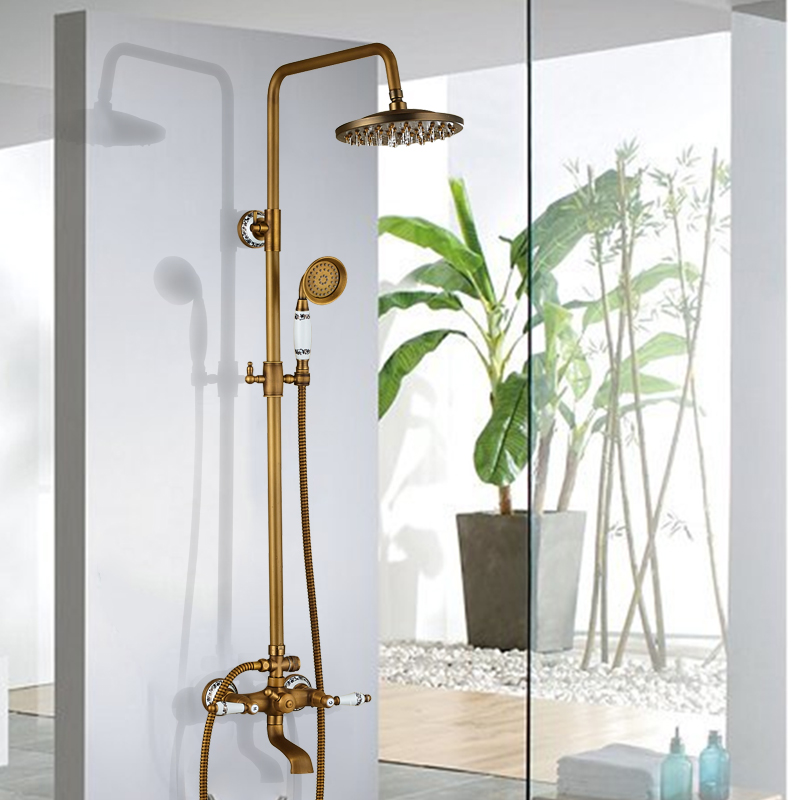 цена на Uythner Shower Set Wall Mounted Antique Brass 8 Inch Round Rainfall Shower Head Wide Tub Spout Brass Hand Sprayer Mixer Tap