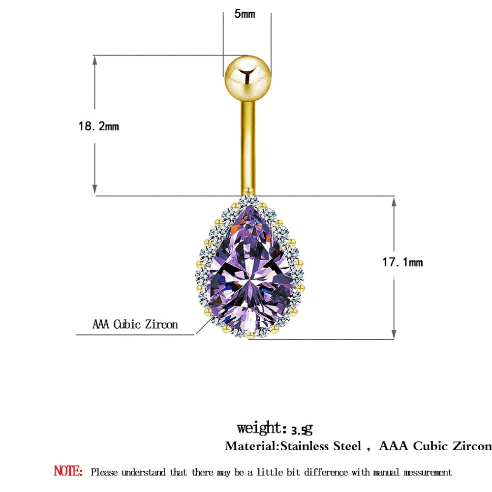 HTB1l4fQdEGF3KVjSZFvq6z_nXXaE Water Drop Zircon Navel Piercing Stainless Steel Belly Button Rings