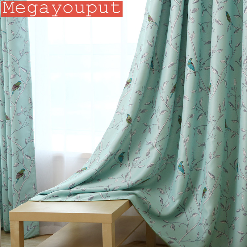 2016 New Arrival 1pc Blue Bird Printed Window Curtains For