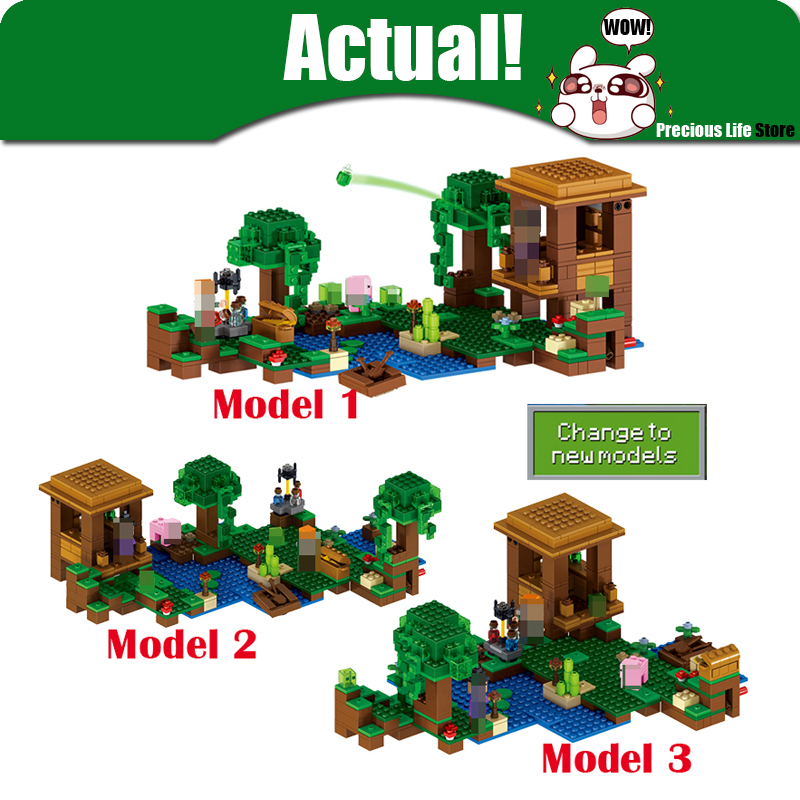 Lepin 500pcs My World Minecraft The Witch Hut anime action figures Building Blocks Bricks Toys For Children gift 21133 brinquedo lele bela my world minecraft dragon blue sky 548pcs building blocks bricks toys for children gift 5staregoly