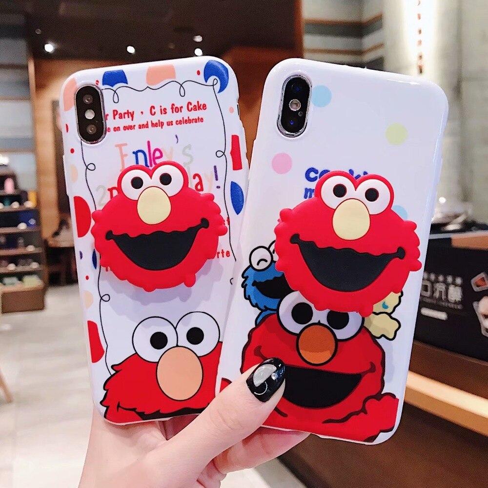 Cute 3D Sesame Street Air Bag Cell Phone Bracket + Soft TPU Case For iPhone  XS XR XS MAX Case For iPhone X 6 6s 7 8 Plus Case 85b2a2d49dc4