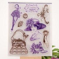 DIY Scrapbook Album Transparent Silicone Rubber Stamp Seal Vintage Lady YJ Lady