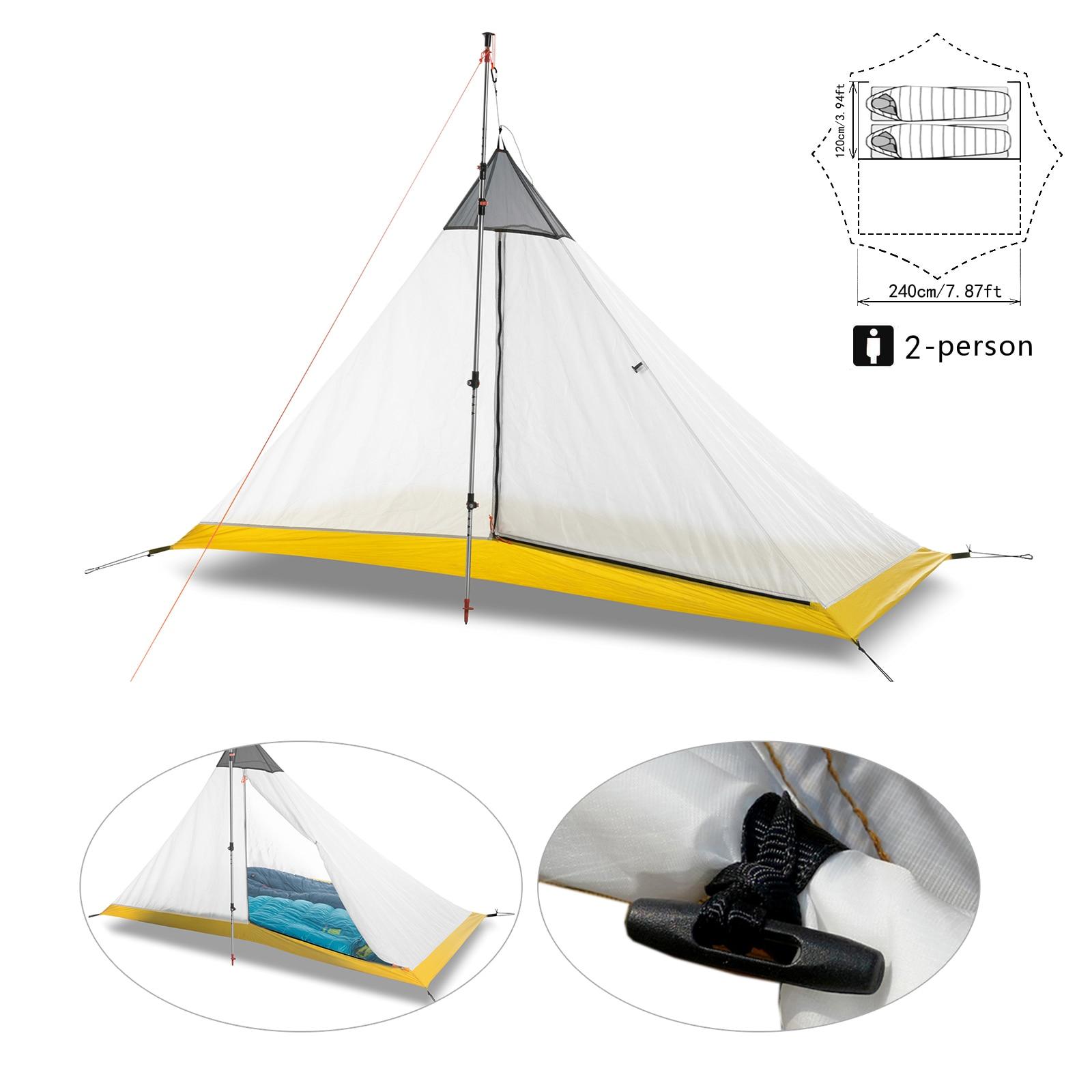 Ultraleicht Camping Zelt 2-4 Person Outdoor 40D Nylon Silikon Beschichtet Kolbenstangenlosen Pyramide Große Zelt Atmungsaktive 3-4 saison Innen Zelt