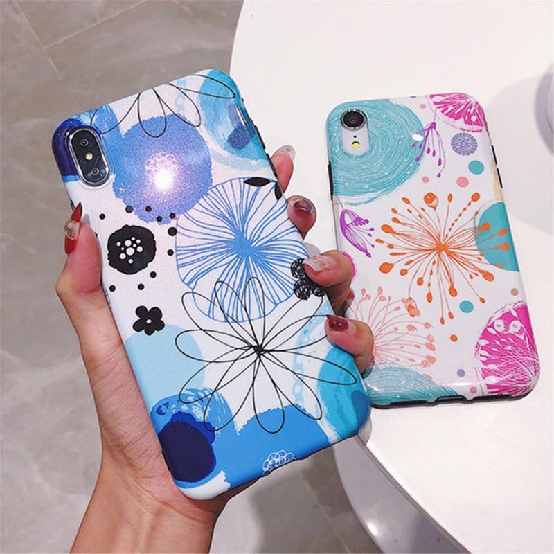 100 pièces étui pour Apple iPhone 7 6 s 6 8 Plus X XR XS Max Fundas Coque bling étuis doux Imd Silicone fleur housse de téléphone Capa