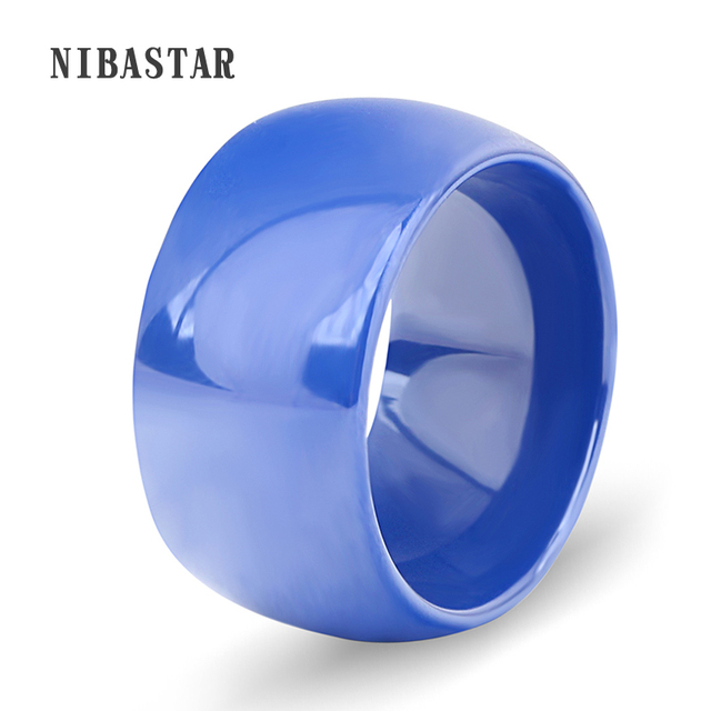 White/Blue 2 Color Unisex Jewelry USA Size 6-11# Luxury Broad Ceramic Rings Wedd