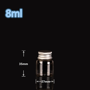 27*35mm 8ml Mini Clear Glass Bottles With Aluminum Cap Tiny Glass Vials Jars essential oil bottle 100pcs Free Shipping
