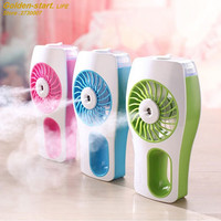 2017 Cooling Fan Humidifier Rechargeable USB 3 Colors Water Spray Fan Mist Cooler Water Diffuser Powerful