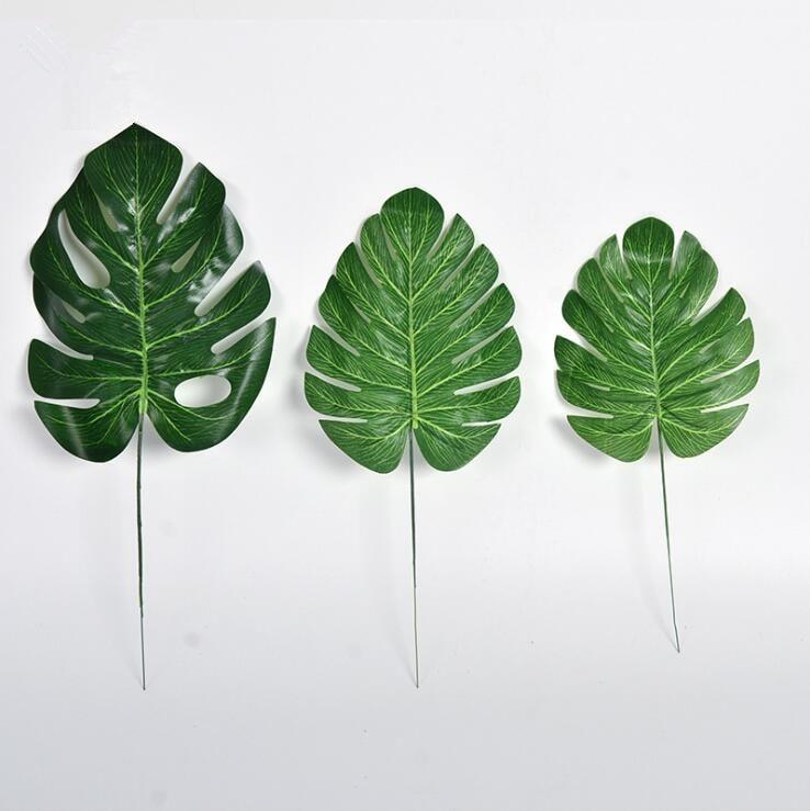 1Piece Artificial Fake Monstera Palm Leaves Leaf Shaped Green Plants Wedding DIY Decoration
