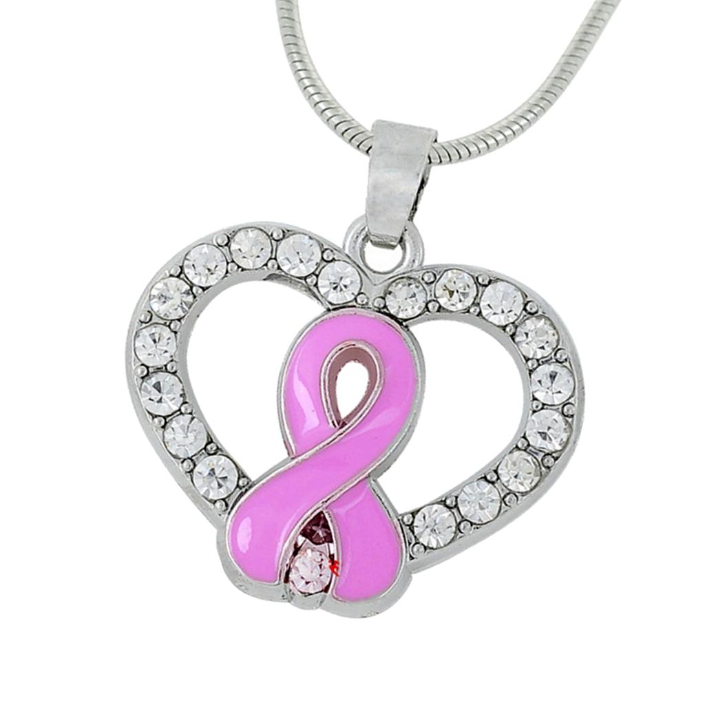 Crystal Rhinestone Heart Pink Ribbon HIV AIDS Awareness Pendant Necklace Jewelry