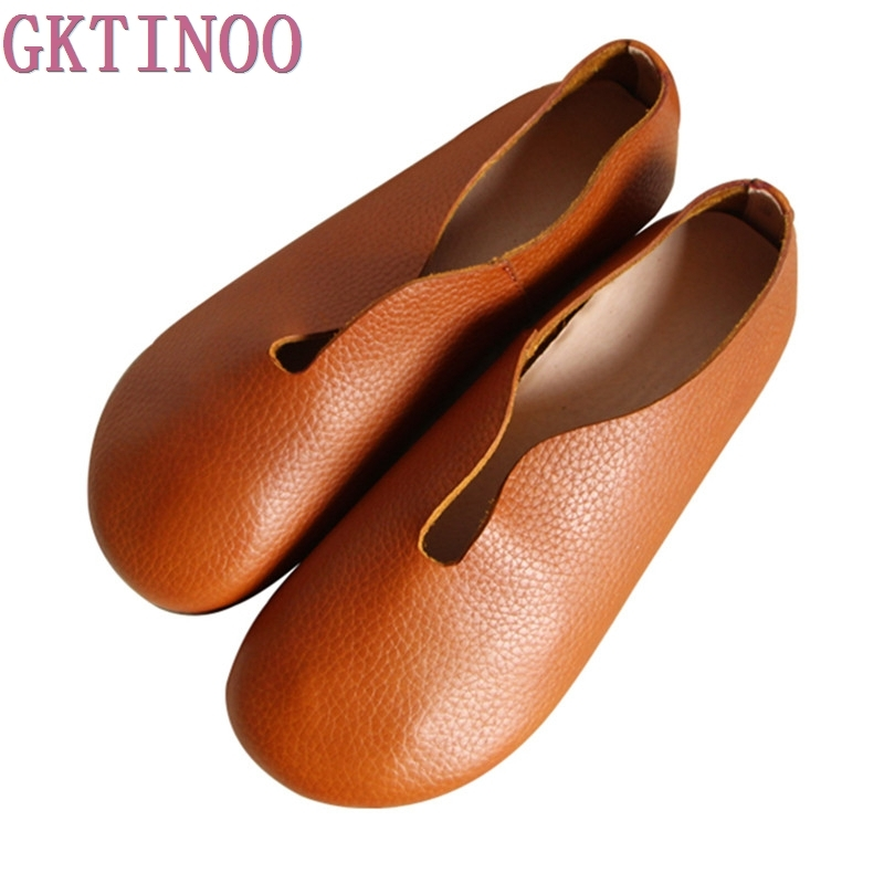 2018 Women Shoes Summer Spring Genuine Leather Loafers Casual Solid Slip-On Round Toe Handmade Flats spring summer flock women flats shoes female round toe casual shoes lady slip on loafers shoes plus size 40 41 42 43 gh8