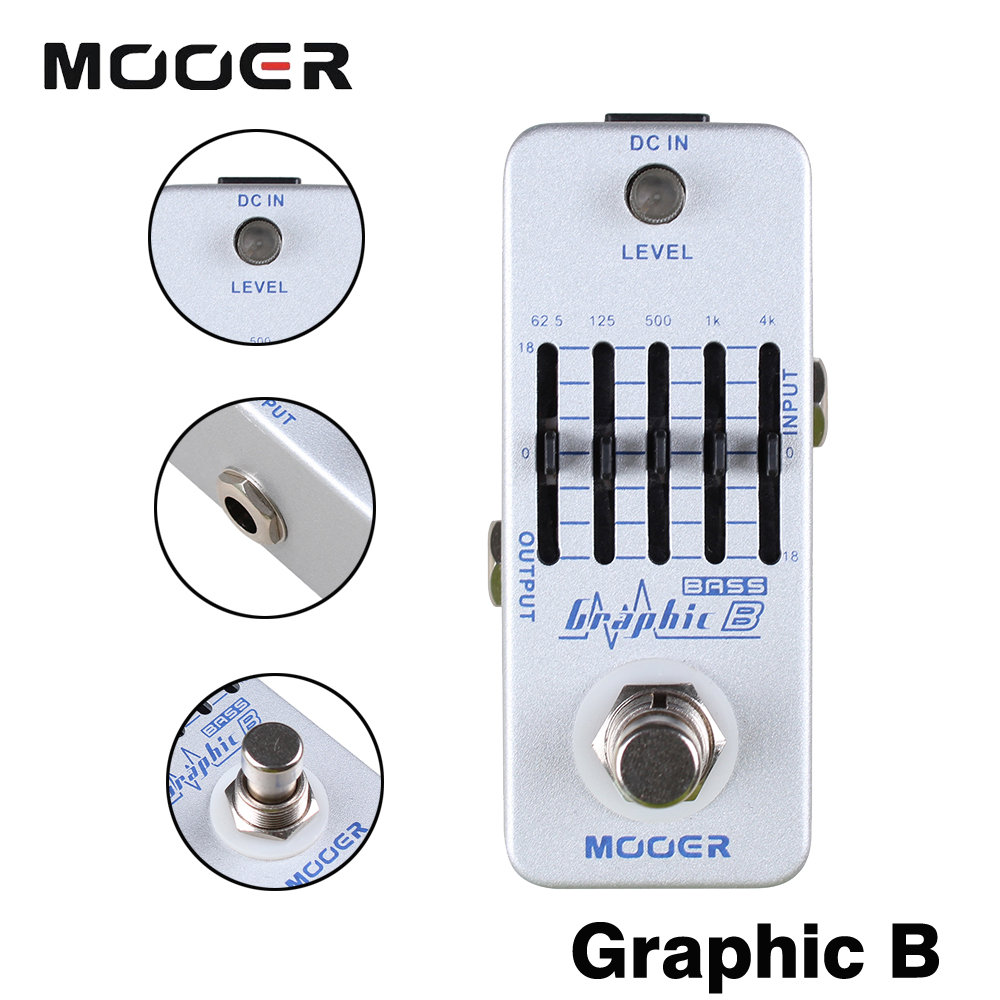 Mooer Full Metal Shell Effects 5-Band EQ Bass Equalizer Effect Pedal Micro Graphic B True Bypass mooer ensemble queen bass chorus effects effect pedal true bypass rate knob high quality components depth knob rich sound