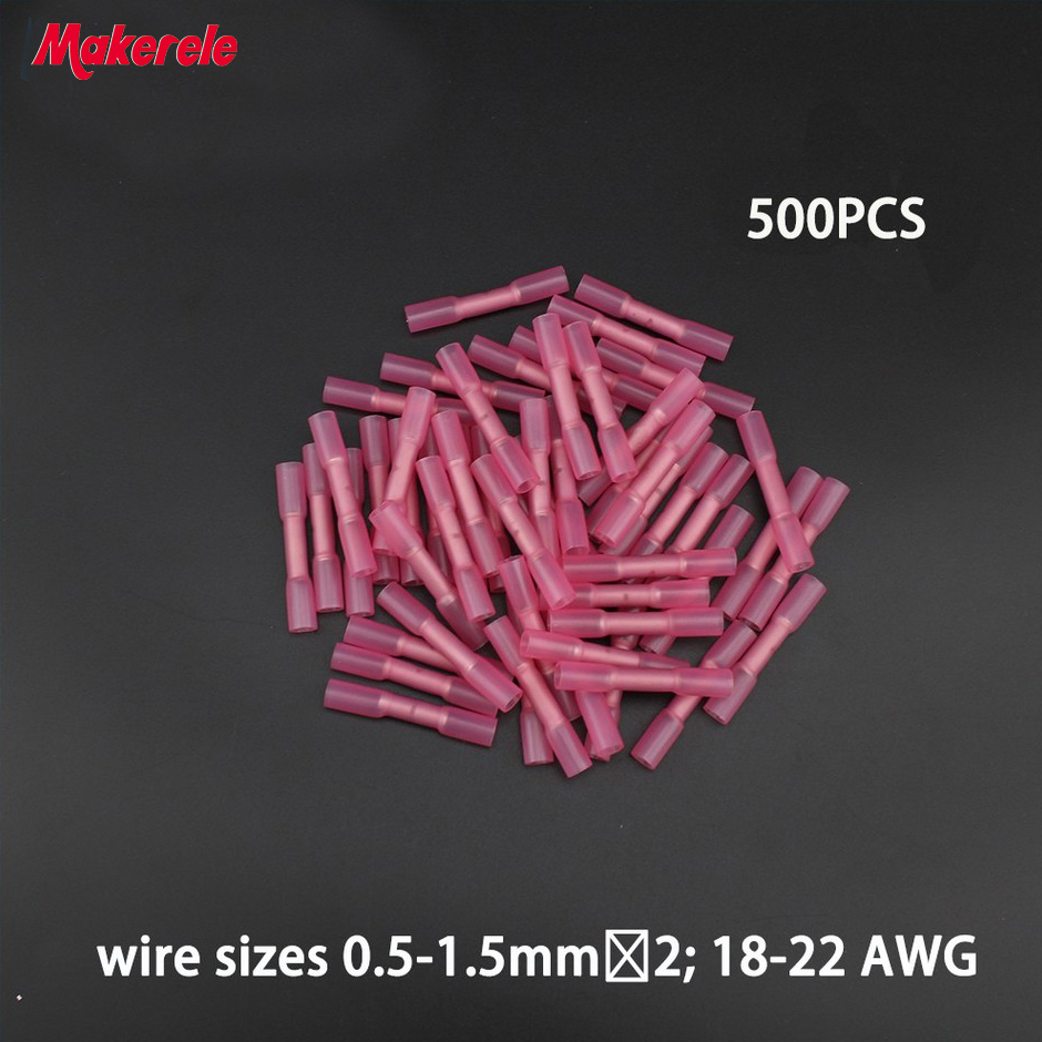 500pcs Insulated Heat Shrink Butt Connectors Wire Electrical Crimp Terminals 22-18AWG Kit