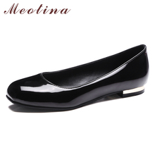 Купить с кэшбэком Meotina Ballet Flats Shoes Women Patent Leather Flat Boat Shoes Casual Square Toe Shoes Female Footwear Spring Red Big Size 3-12