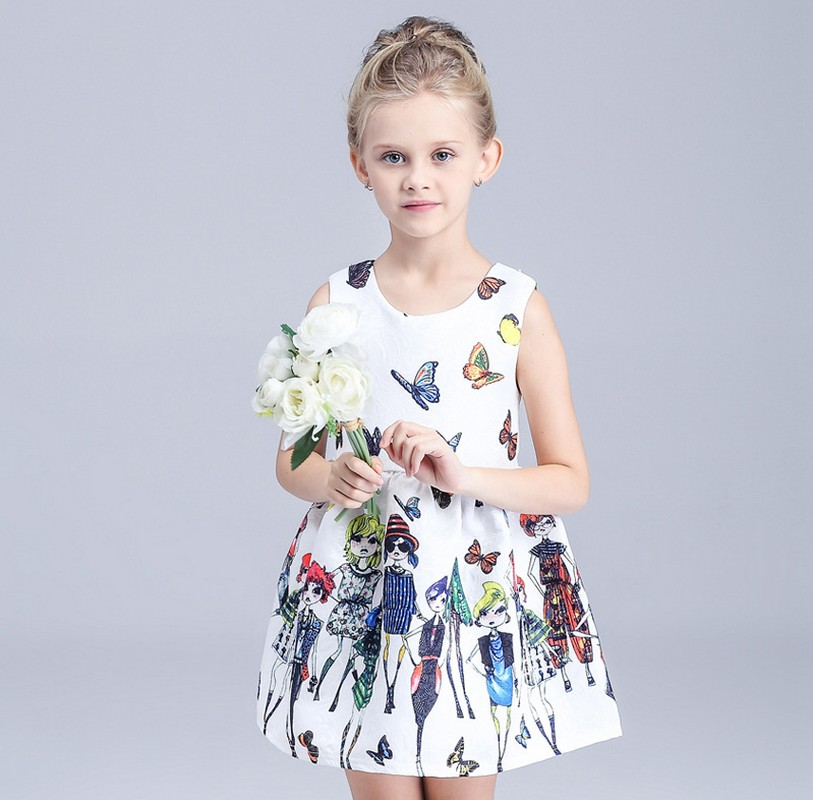ФОТО 2016 new fashion girls dress baby girl flower dresses girls' clothes for 3 4 5 6 7 8 9 10 years girl made in china