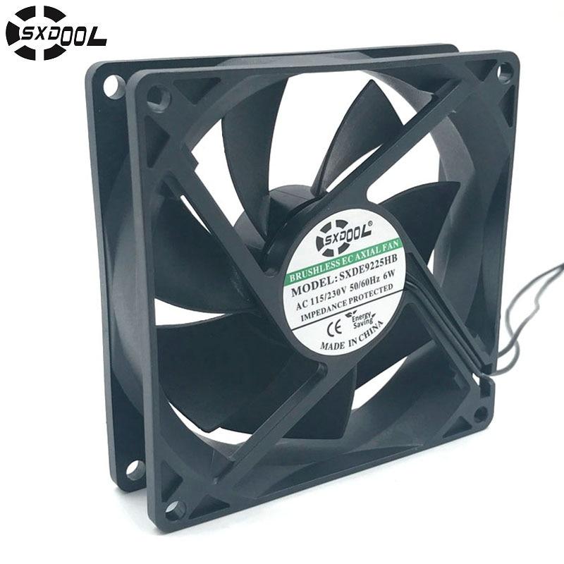220v Motor SXDOOL SXDE9225HB EC Motor 92mm AC Fan 110V 115V 220V 230V Axial Cooling Cooler 6W 2800RPM 55.2CFM