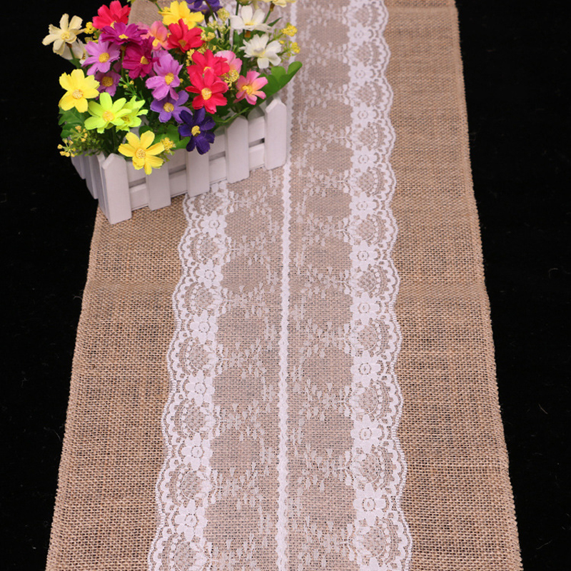 1pc burlap hessian with lace flag center crochet table runner wedding christmas home decoration tablecloths table
